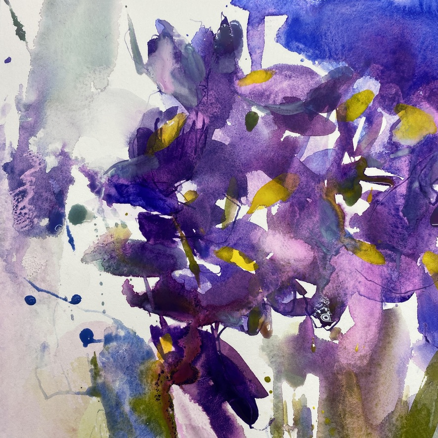 iris watercolour purple